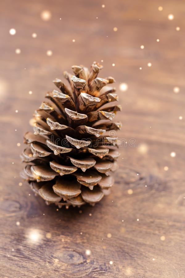 Big christmas cone on wooden background with fairies stock images