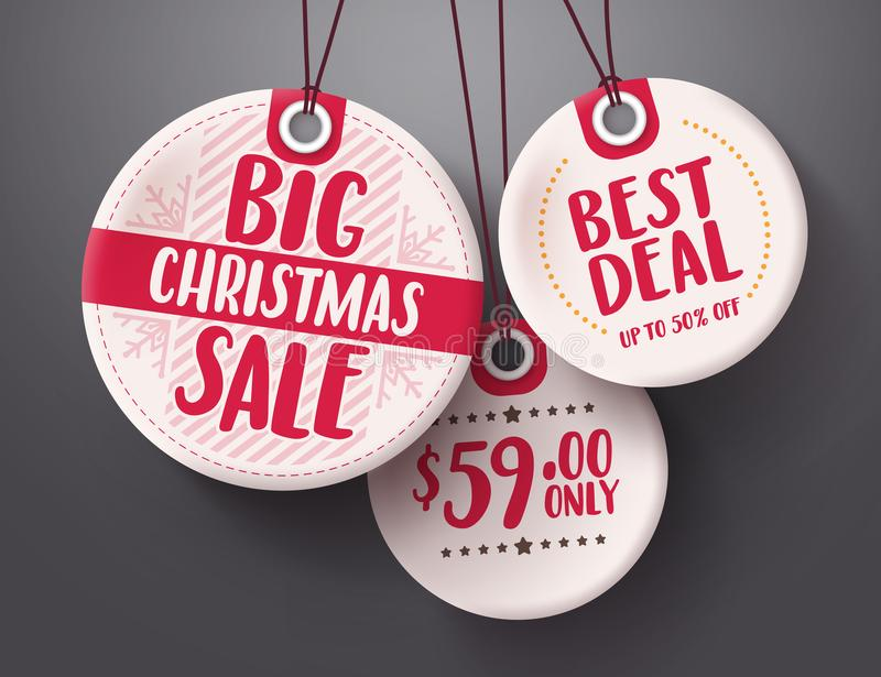 Big christmas sale tags vector set with white and red tag price color hanging royalty free illustration