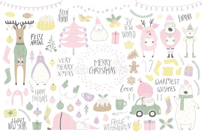 Big Christmas set. With funny characters bear, penguin, reindeer, pig, Santa, elf, tree, food, quotes. Isolated objects on white. Hand drawn vector illustration stock illustration