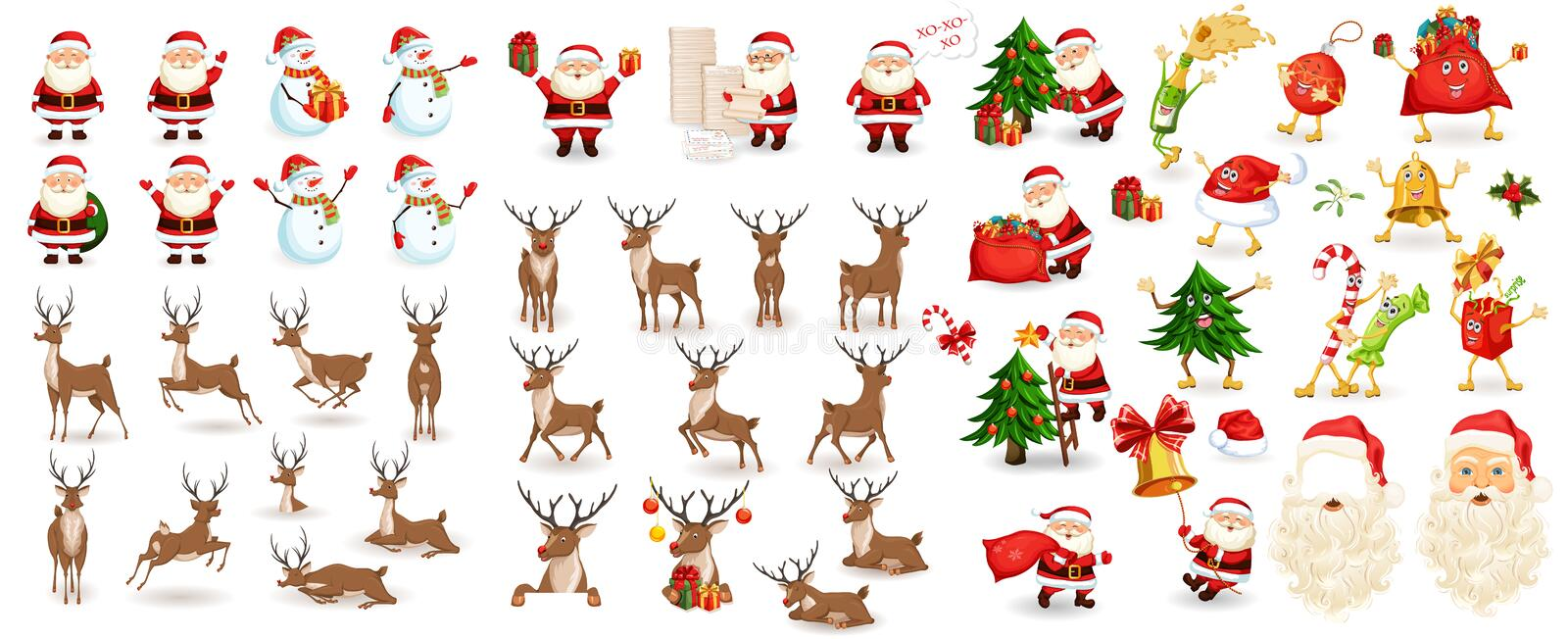 Big Christmas set. Santa Claus, reindeer, snowman, tree, bag with gifts, hat, sweets beard. Xmas decoration and elements. Photo props. Characters run, jump royalty free illustration