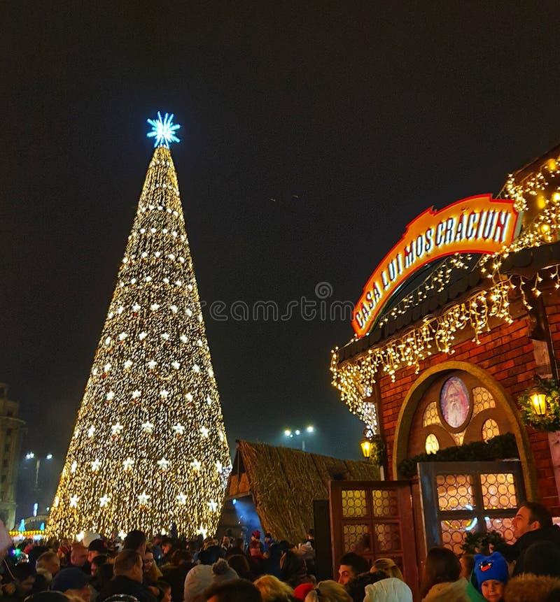 Big Christmas tree at christmas fair in Bucharest. City stock photos