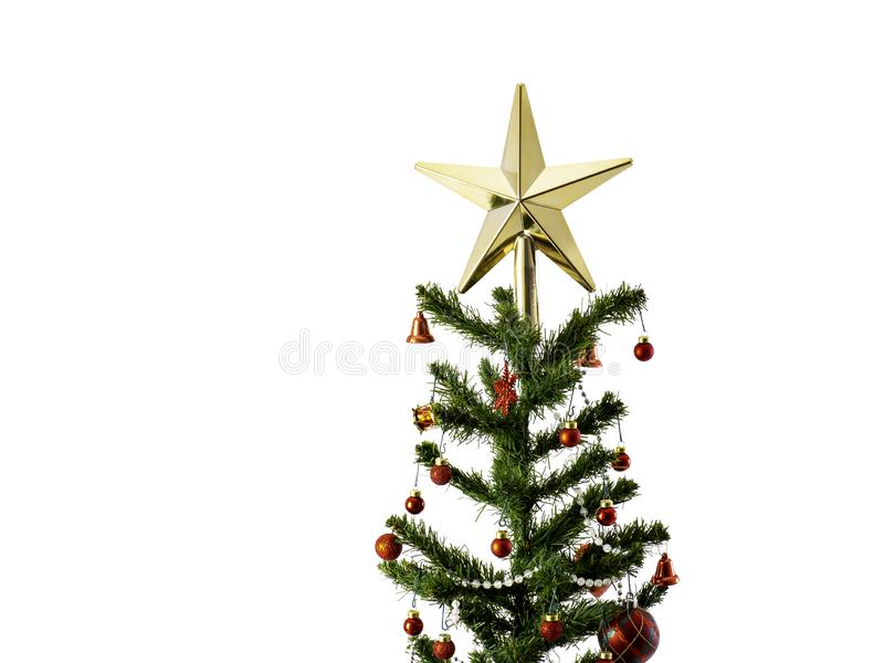 Big Christmas tree decorated with stars and beautiful red balls celebrate the festival stock photo