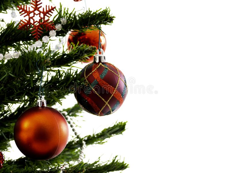 Big Christmas tree decorated with stars and beautiful red balls celebrate the festival stock photography