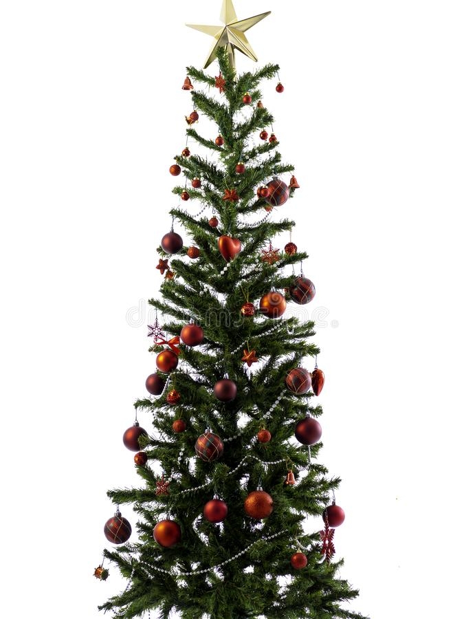 Big Christmas tree decorated with stars and beautiful red balls celebrate the festival stock photos