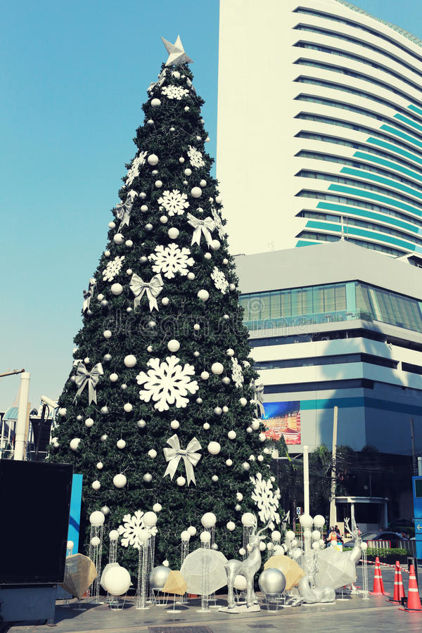 Big Christmas tree in decorations downtown on Bangkok. Big Christmas tree in decorations downtown on Bangkok,New Year Festival in Thailand royalty free stock photography