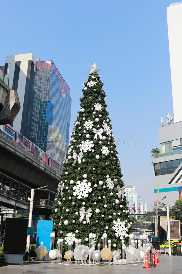 Big Christmas tree in decorations downtown on Bangkok. Big Christmas tree in decorations downtown on Bangkok,New Year Festival in Thailand royalty free stock image