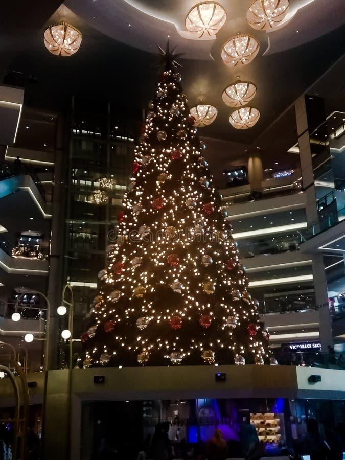 Big christmas tree. At mall with lights stock photo