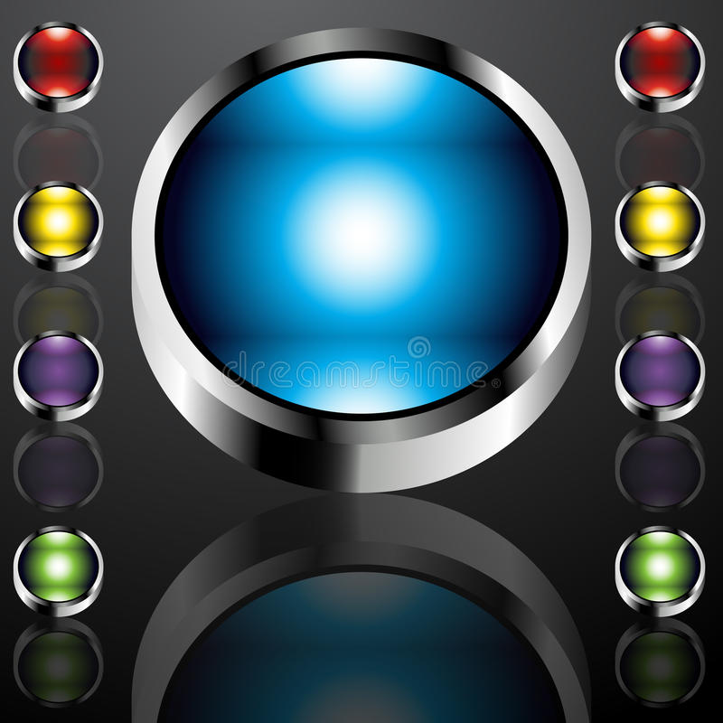 Big Chrome Buttons. An image of big chrome buttons vector illustration