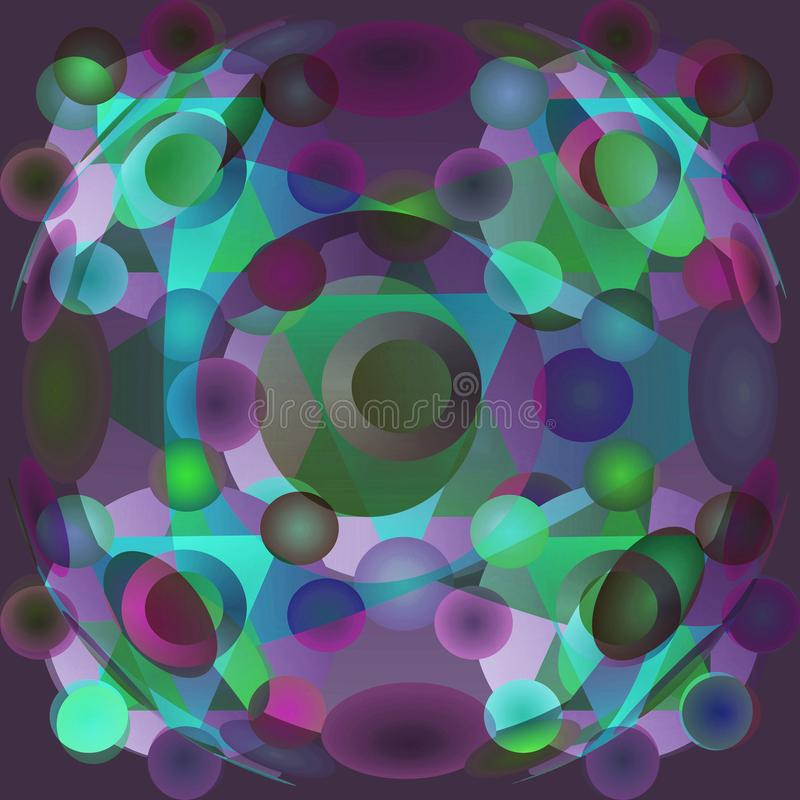 CIRCLES MANDALA, RADIAL MANDALA WITH BLUE, PURPLE, TURQUOISE AND GREEN CIRCLES, PLANE PURPLE BACKGRAOUND. TURQUOISE TRIANGLES royalty free stock image