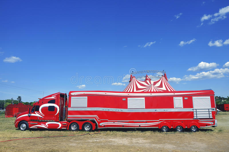 Big circus trailer converted into a rolling apartment. In order to live there with all comforts royalty free stock photo