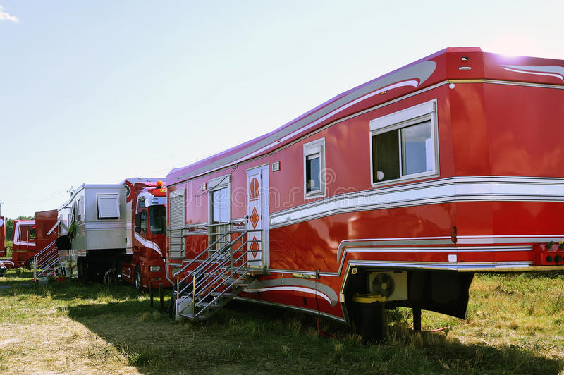 Big circus trailer converted into a rolling apartment. In order to live there with all comforts royalty free stock photos