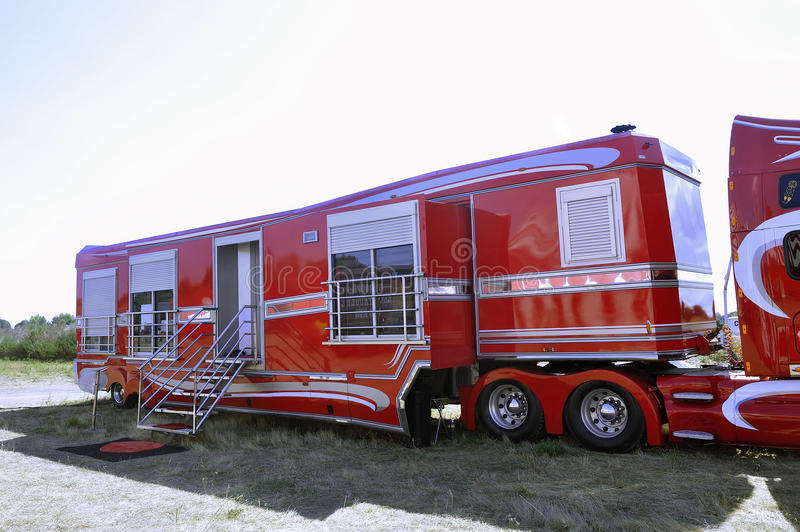 Big circus trailer converted into a rolling apartment. In order to live there with all comforts stock photography