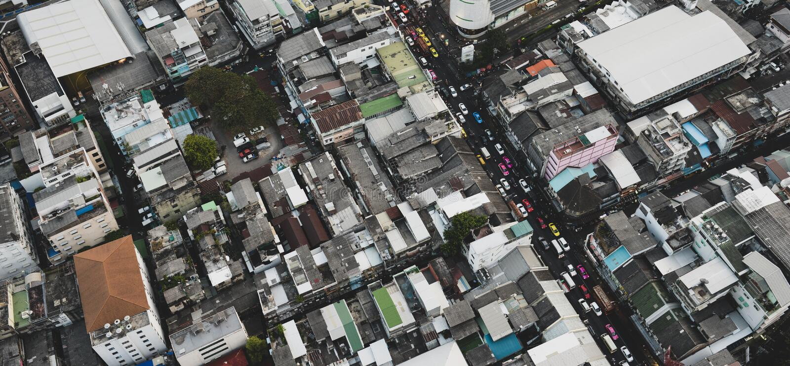 Big city in asia top view stock photos