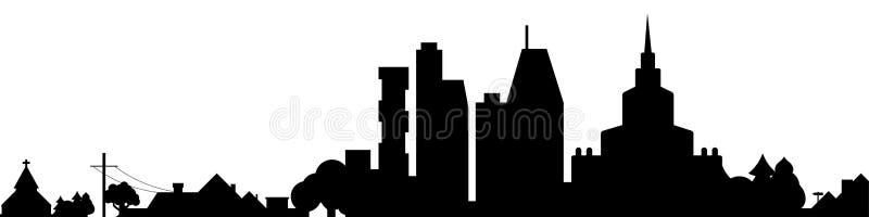 Big city black silhouette isolated. Big city with suburbs black silhouette isolated. Vector illustration royalty free illustration