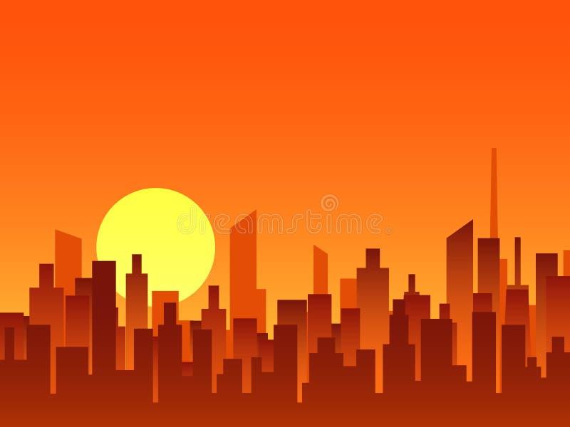 Big city bright sunrise vector illustration