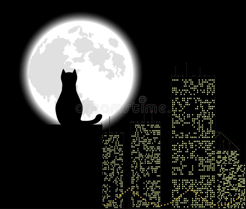 Big city cat stock illustration