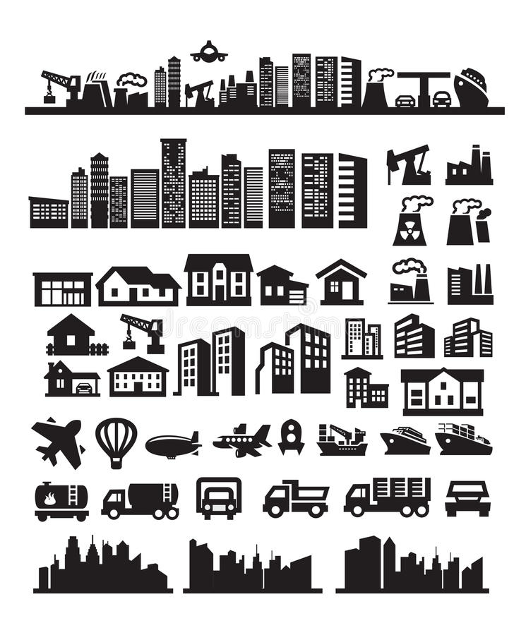 Download Big city icons stock vector. Image of architecture, chimney - 26977792