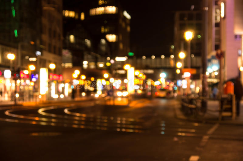 Big city lights in berlin. Near friedrichstra�e by night royalty free stock images