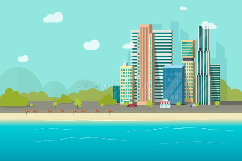 Big city near ocean beach vector illustration, flat cartoon high city skyscraper buildings from sea view, modern town. Big city near ocean beach vector royalty free illustration