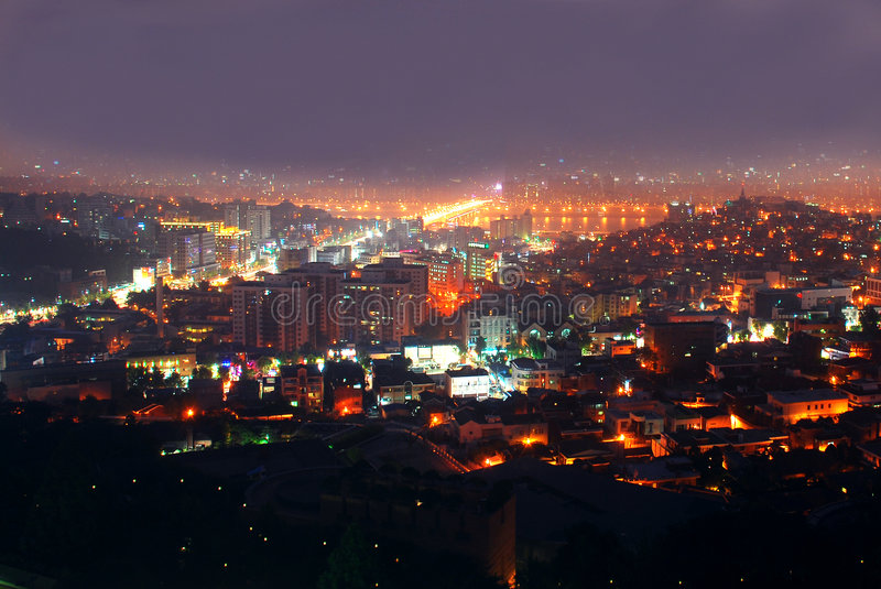 Big city in the night stock image