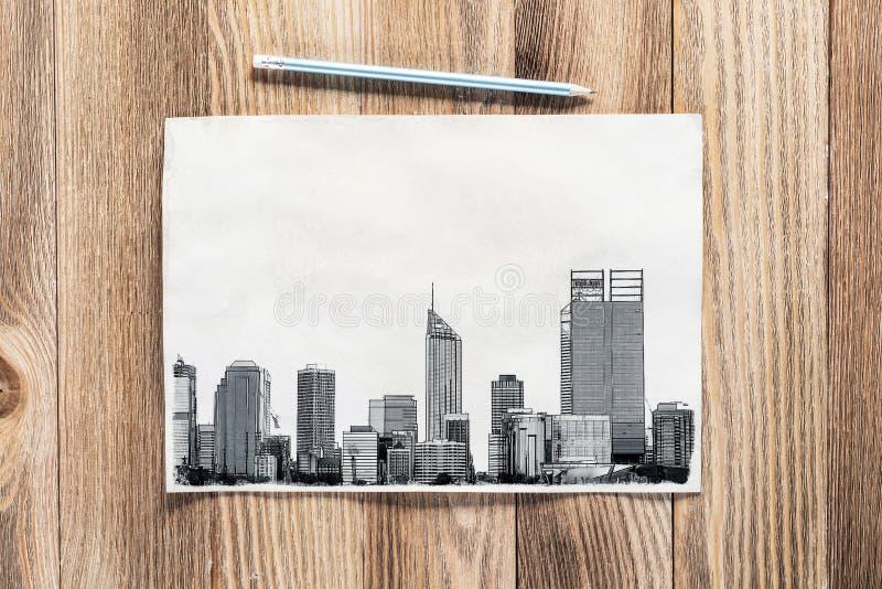 Big city skyline pencil draw stock images