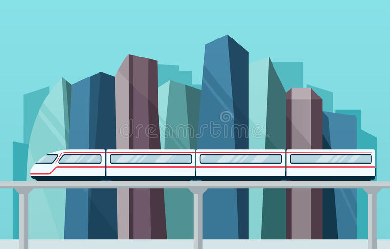 Big city with skyscrapers and skytrain subway. royalty free illustration