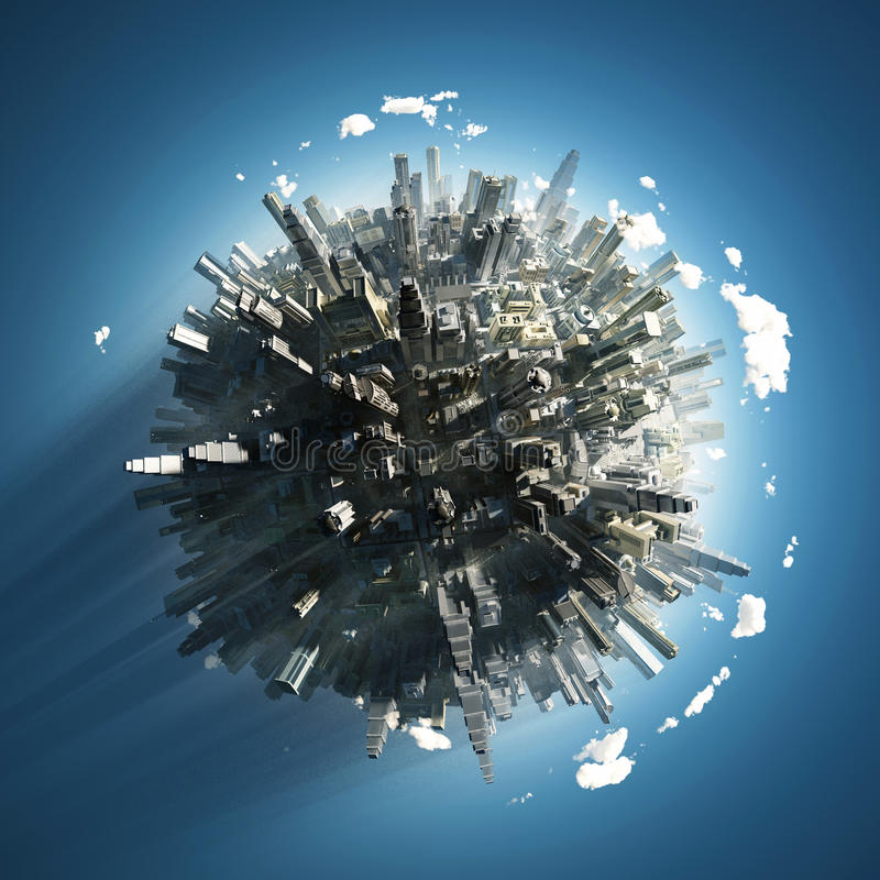 Big city on small planet vector illustration