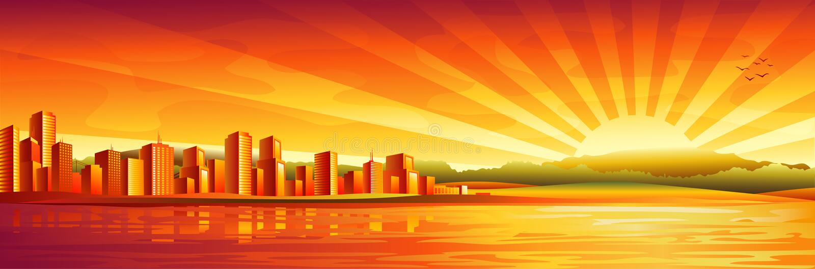 Big city sunset panorama vector illustration