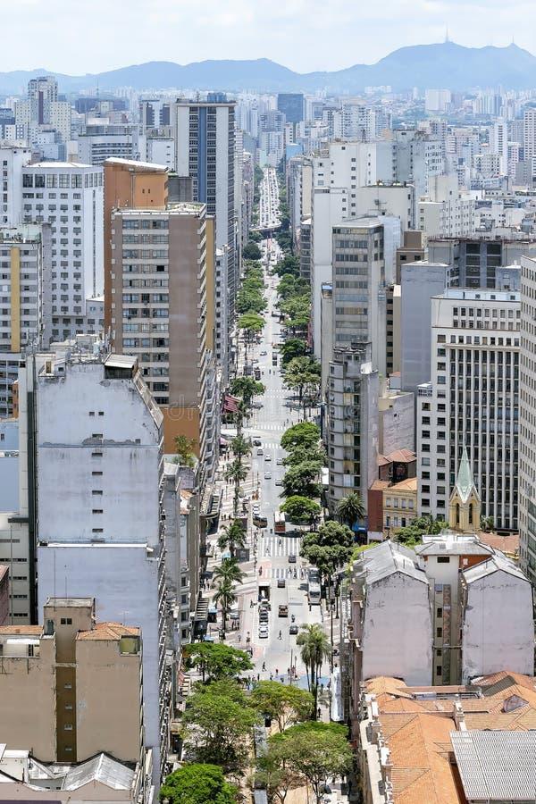 Sao Joao avenue, Sao Paulo SP Brazil. Big city with tall buildings and a large avenue with trees. Aerial view of the Avenida Sao Joao avenue at Sao Paulo SP stock image