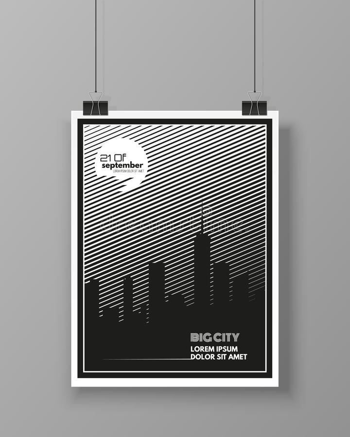 Big City template poster isolated on grey wall. Modern flyer design. Vector illustration stock illustration