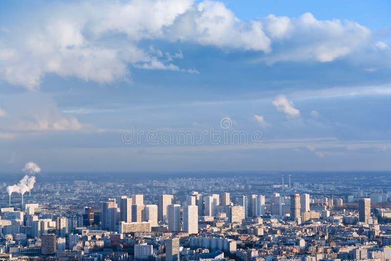Big city under high blue sky stock photos
