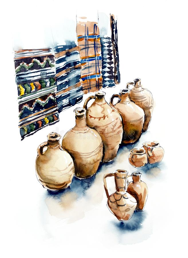 Eastern market. Georgia. Watercolor hand dawn illustration stock illustration