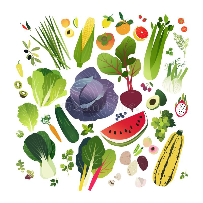 Big clip art collection with fruits and vegetables stock illustration