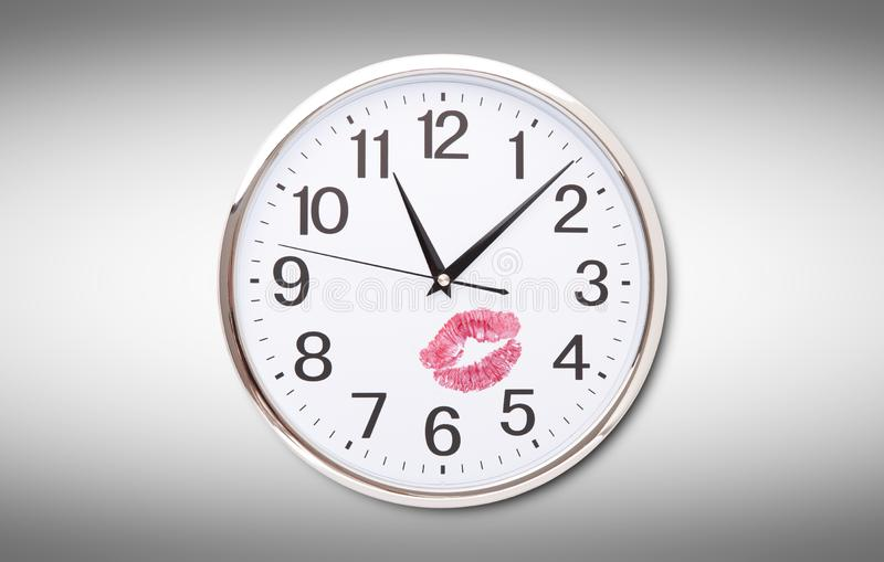 Big clock on white background. Time change concept stock photo