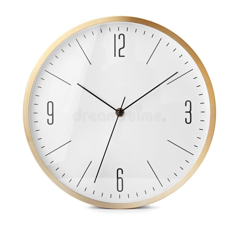 Big clock on white background. Time change concept royalty free stock photography
