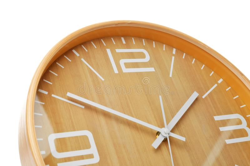 Big clock on white background. Time change concept royalty free stock photo