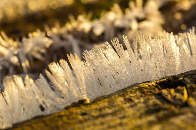 Big close up of snow or ice crystals stock image