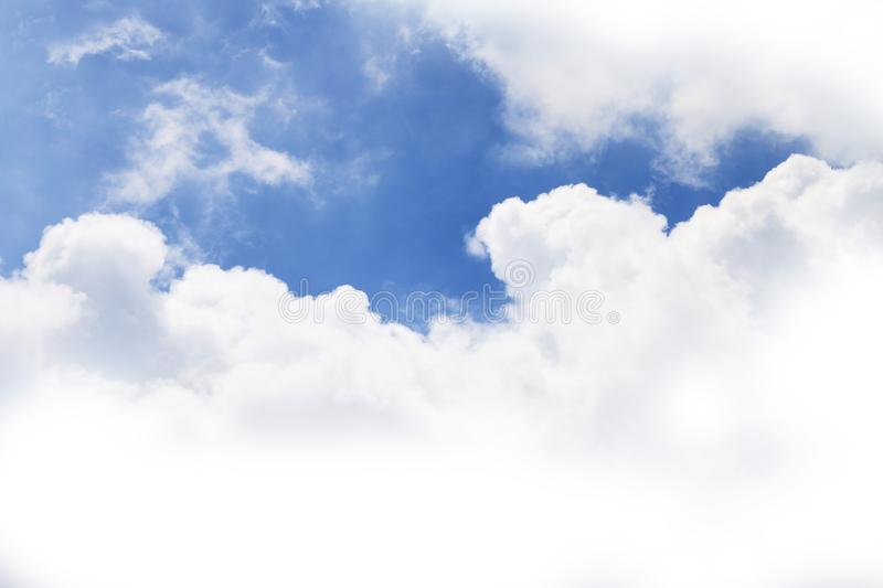Big Cloud shape on sky, Fluffy cloud white on sky blue royalty free stock images