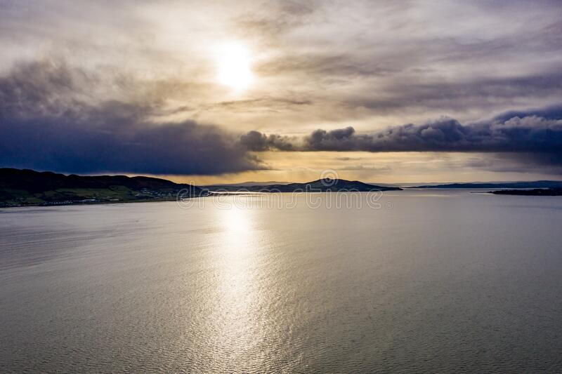 Big clouds above Buncrana in County Donegal - Ireland.  stock images