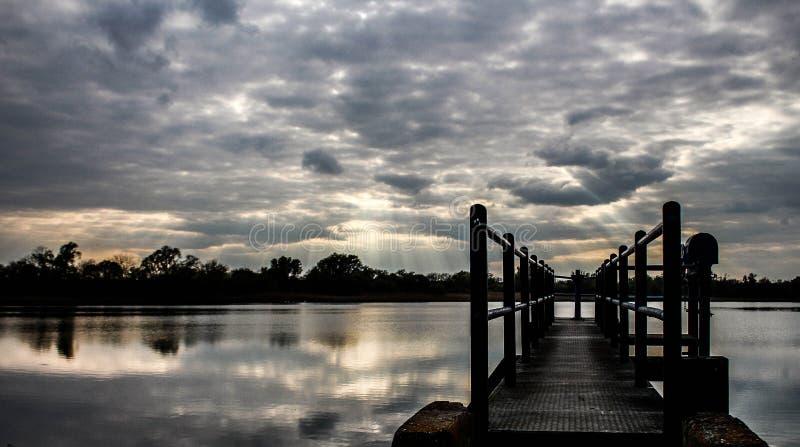 Big cloudy lake royalty free stock image