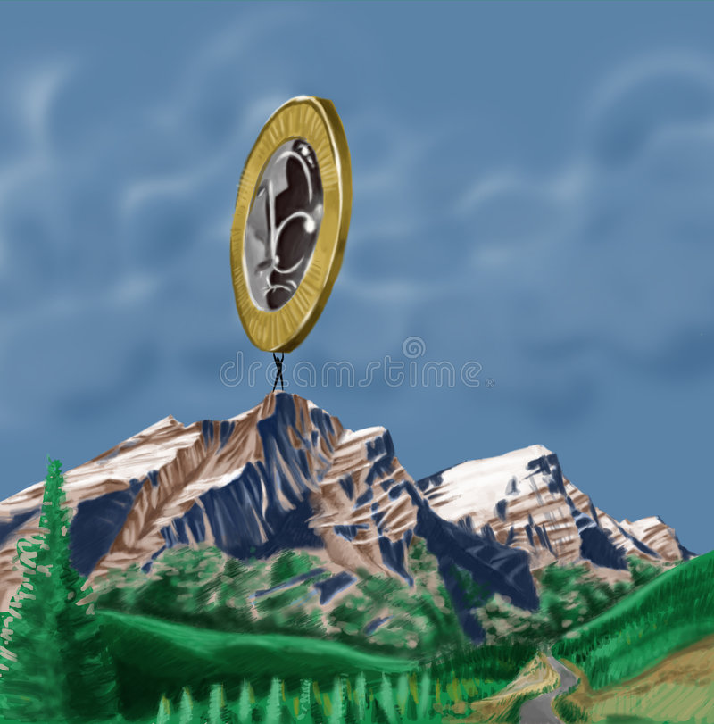 Big coin. Guy supporting a big coin royalty free illustration