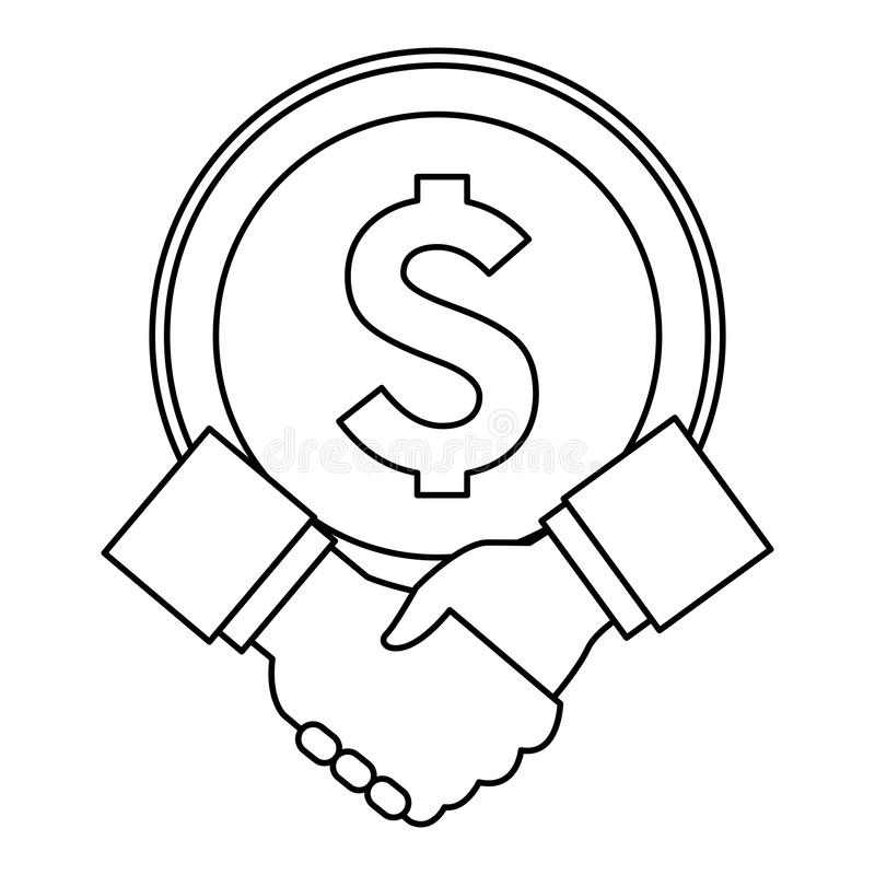 Big coin and hand shaking in black and white royalty free illustration
