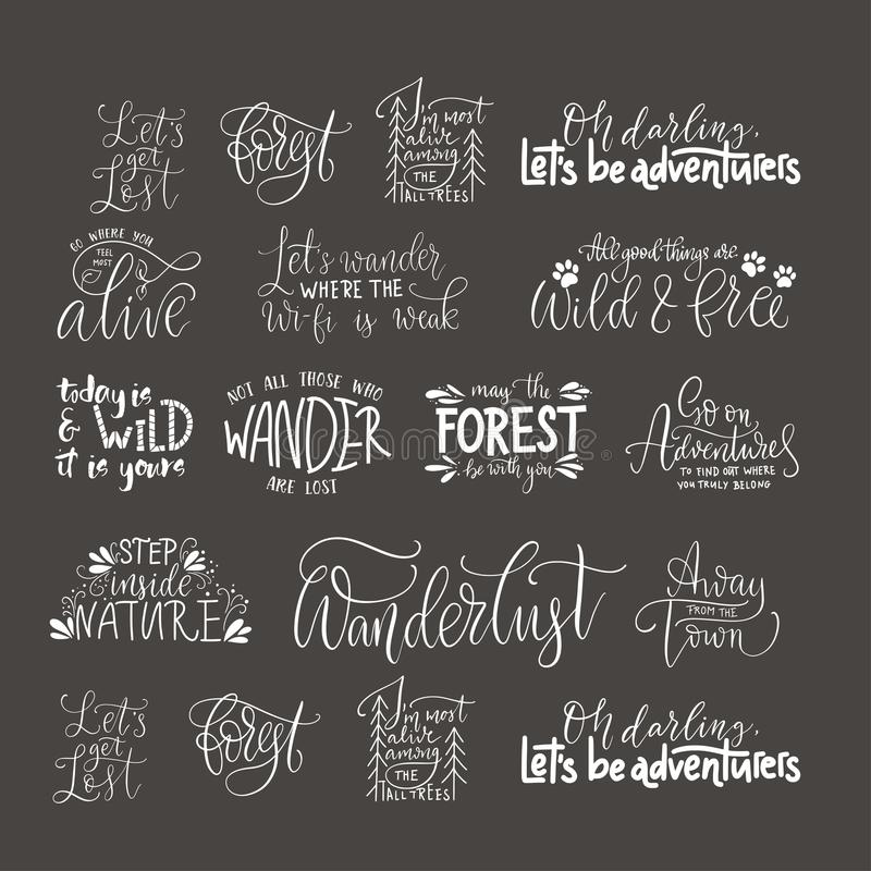 Big collection of adventure, outdoors and travel vector quotes. Nature and forest calligraphy collection royalty free illustration
