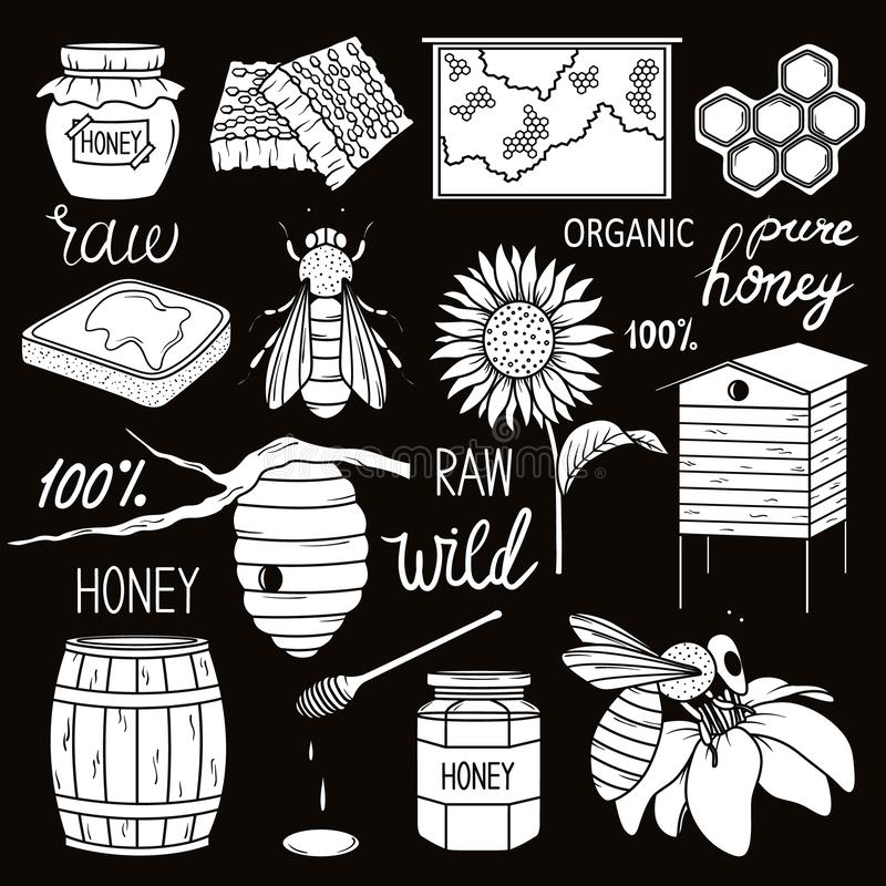 Big collection of beekeeping symbols stock illustration