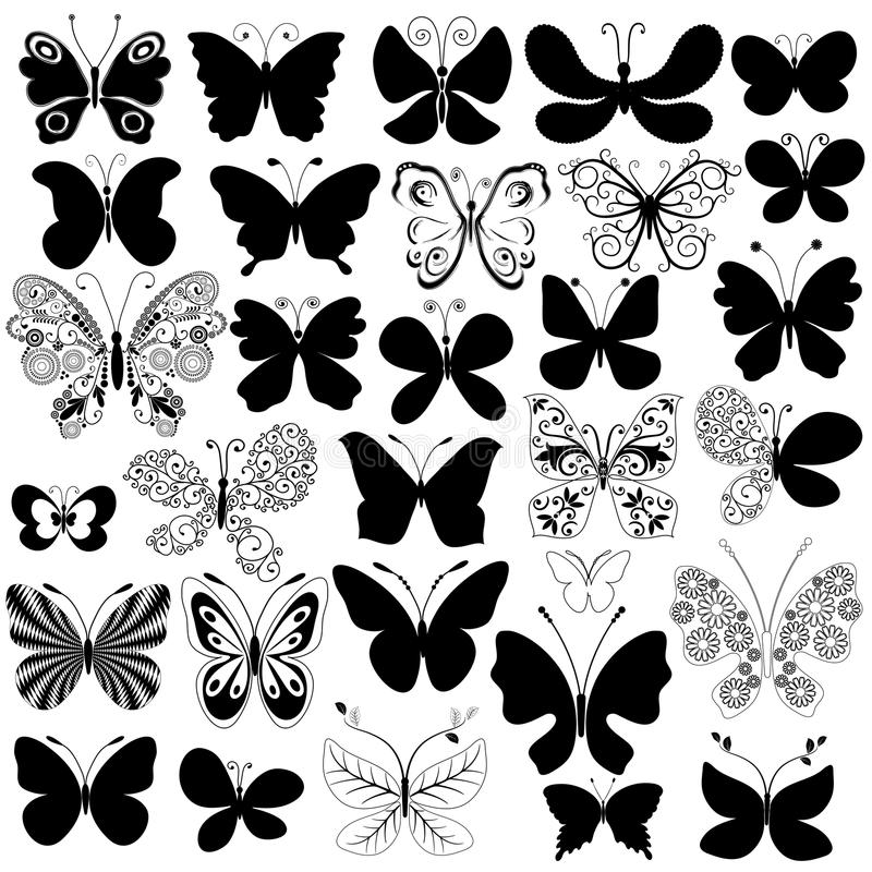 Big collection black butterflies royalty free illustration