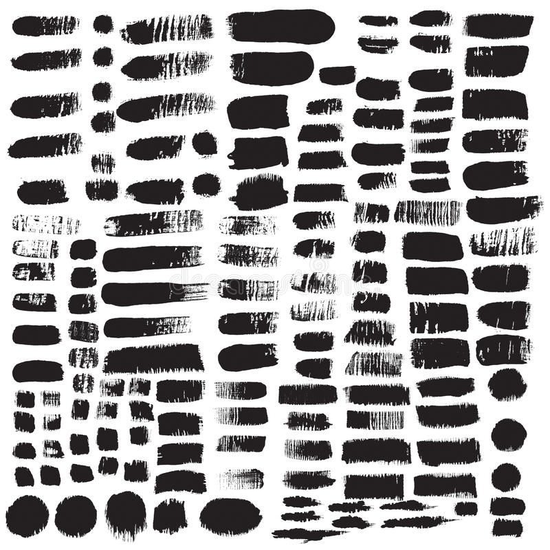 Big collection of black ink brush strokes. Vector grunge splatter stains isolated on white background. Artistic backdrop for logos, banners and headlines vector illustration