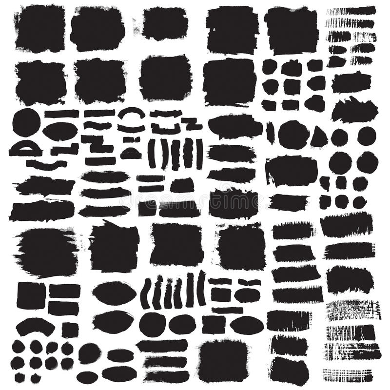 Big collection of black ink brush strokes. vector illustration