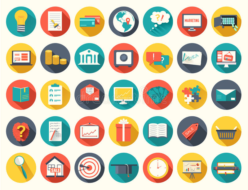 Big collection business, education, online vector illustration