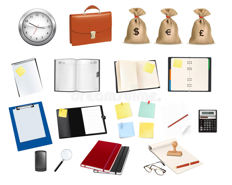 Big collection of business and office supplies. Vector illustration stock illustration