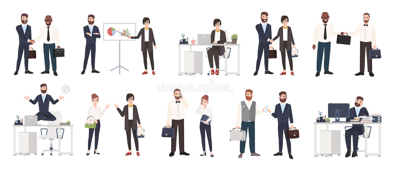 Big collection of business people or office workers dressed in smart clothing in different situations - making deal royalty free illustration